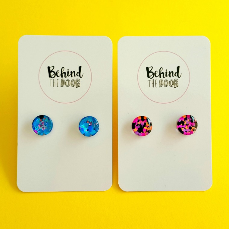 Behind the Door Glitter Studs Made in South Australia